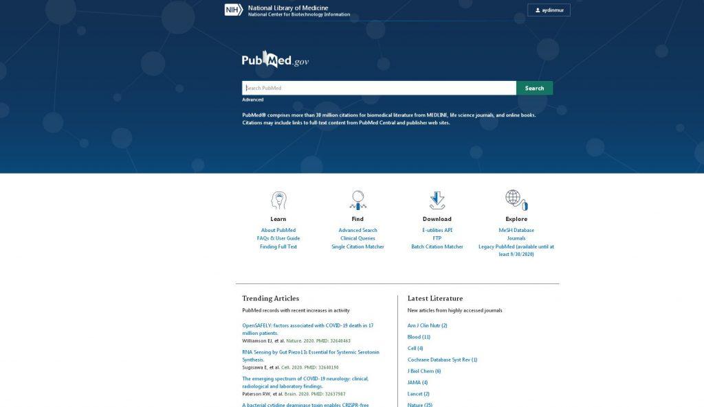 PubMed adan sayfası görülüyor